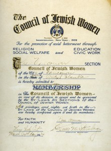 Vancouver Section of Council of Jewish Women Membership Certificate from New York, March 14, 1924. A.1998.009.002