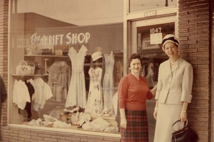 Helen Goldberg and Rose Silverman at the front entrance and display window of the National Council of Jewish Women's Thrift Shop at 1047 Robson Street. (L.20826)