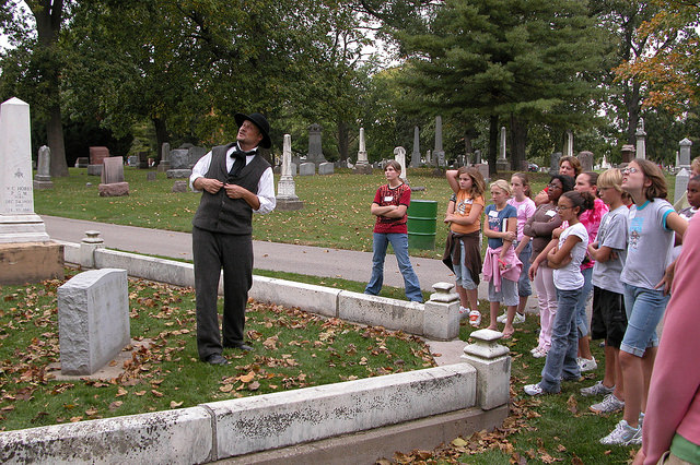 James Marlott playing Goodman Ferre, Evergreen Cemetery Walk  2006, Image courtesy of the McLean County Museum of HIstory