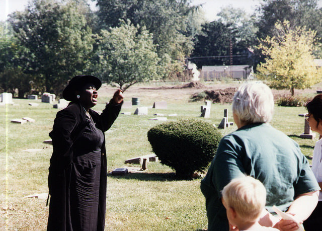 Wilma Brown playing Julai Duff, Evergreen Cemetery Walk 1997, Image Courtesy of the McLean County Museum of History