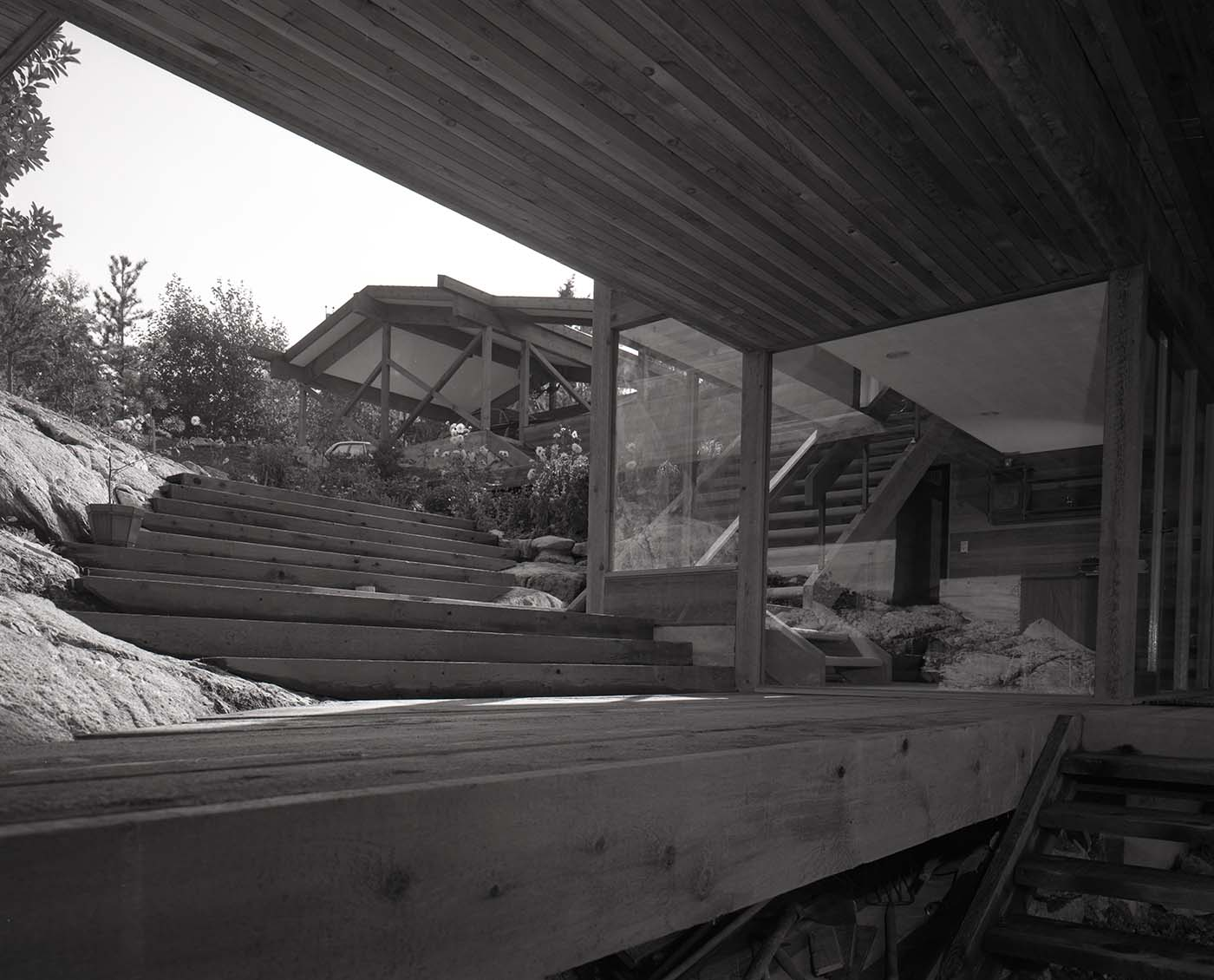 Exterior stairs of the Anton Residence (Erickson and Massey), Photo by Fred Schiffer, 1967.