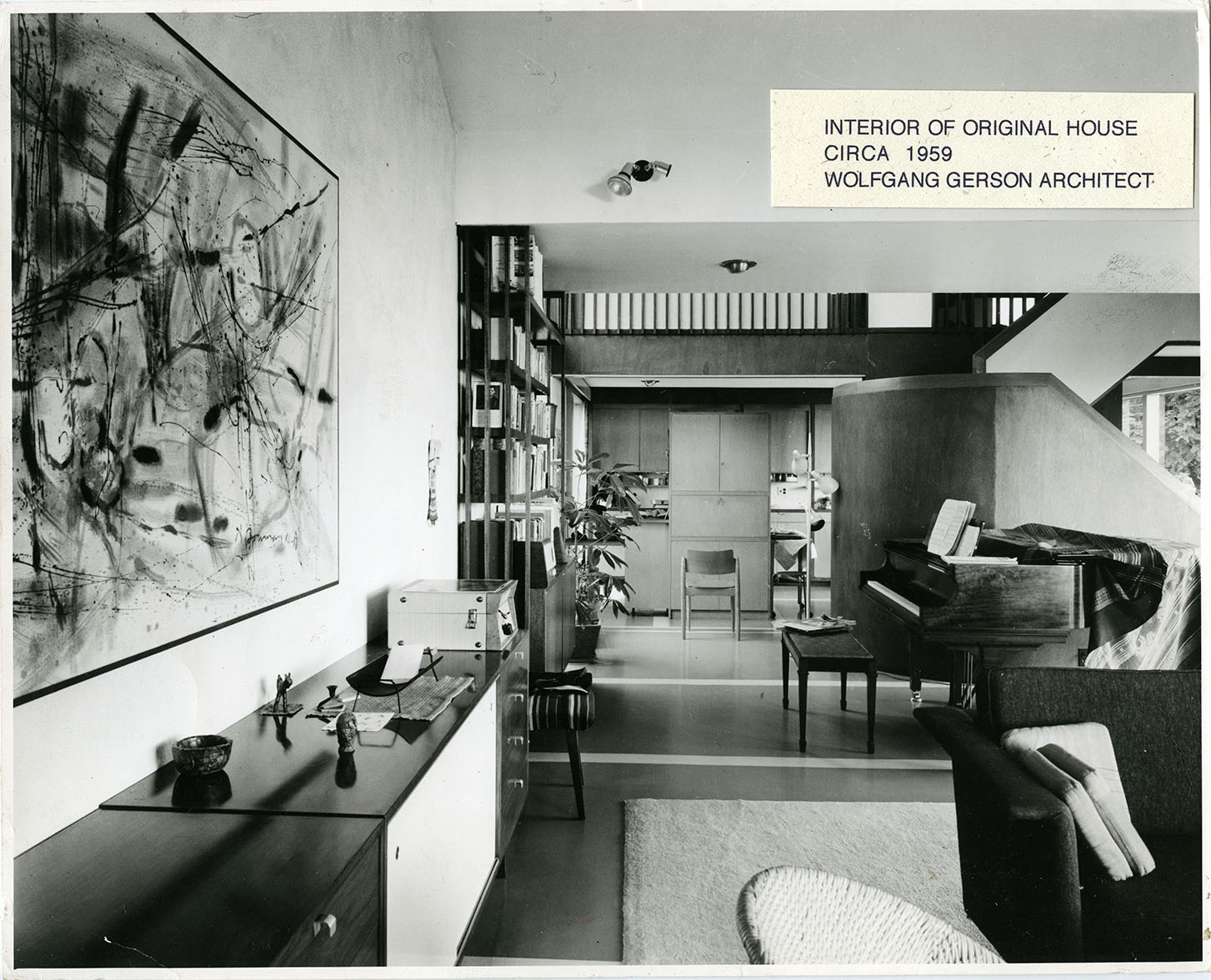 Interior of the Gerson House with piano, 1959. Photo courtesy of the Gerson Family.