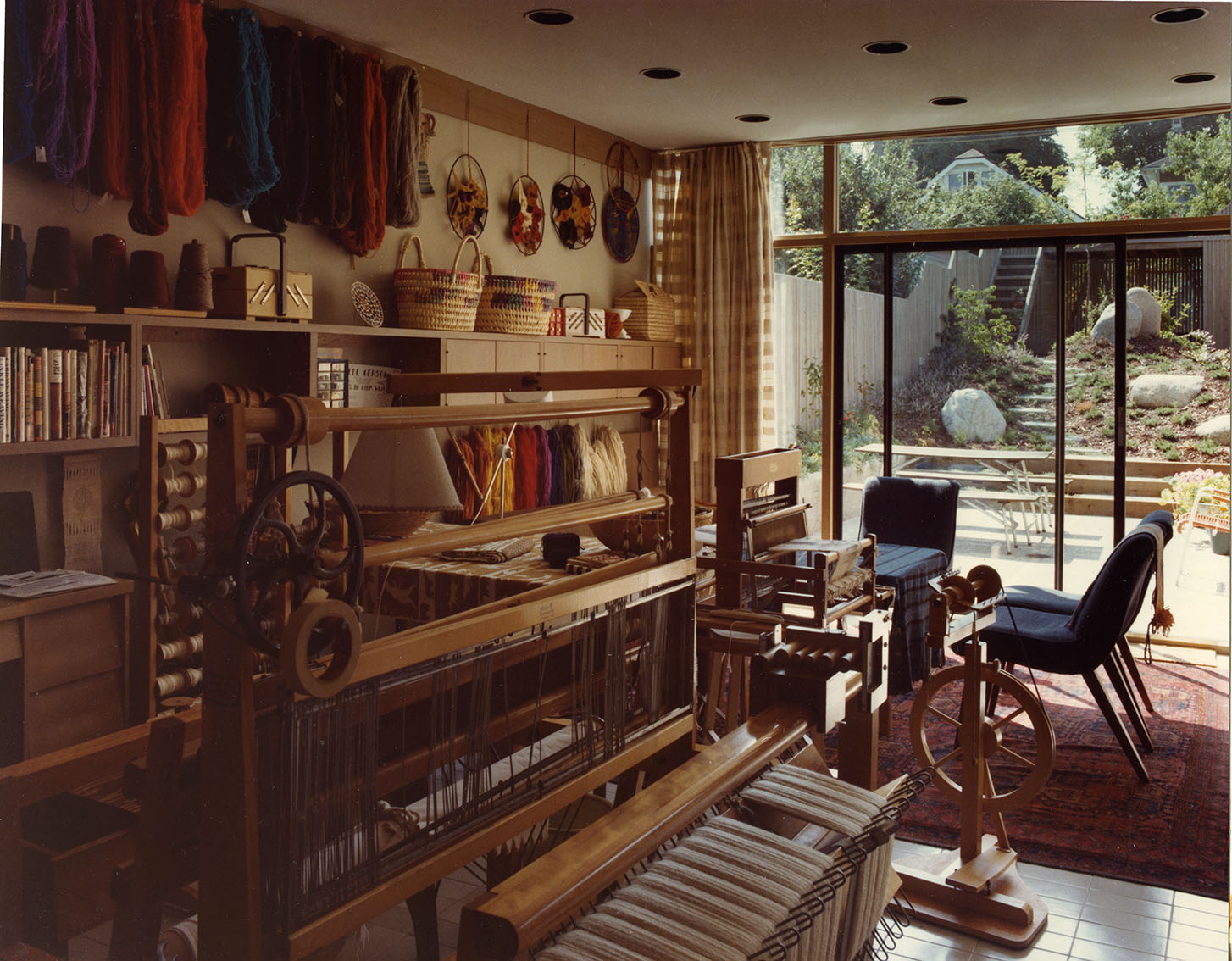 Hilde's weaving studio in the second Gerson House, 1977. Photo courtesy of the Gerson family.