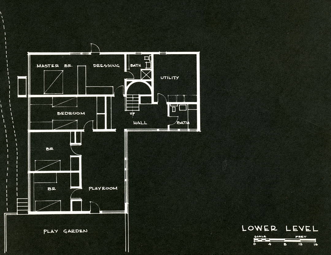 Gerson House lower level plan, 1958. Photo courtesy of the Gerson Family.
