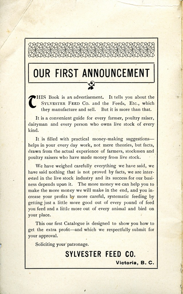 Introductory page to Sylvester Feed Co. catalogue (A.2012.002.004.page 2)