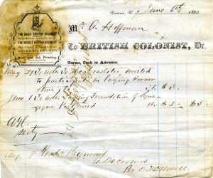 Receipt for advertisement of cornerstone laying ceremonies in the British Colonist (A.2015.009, box 1 file 3 letter 3).