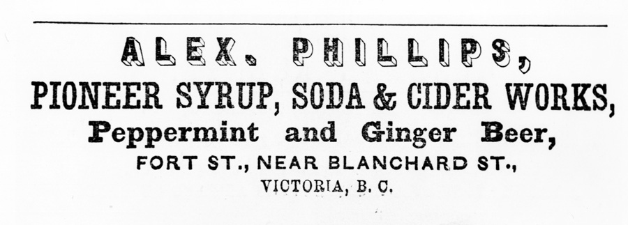 Advertisement for Phillips Pioneer Syrup, Soda & Cider Works (L.00059).