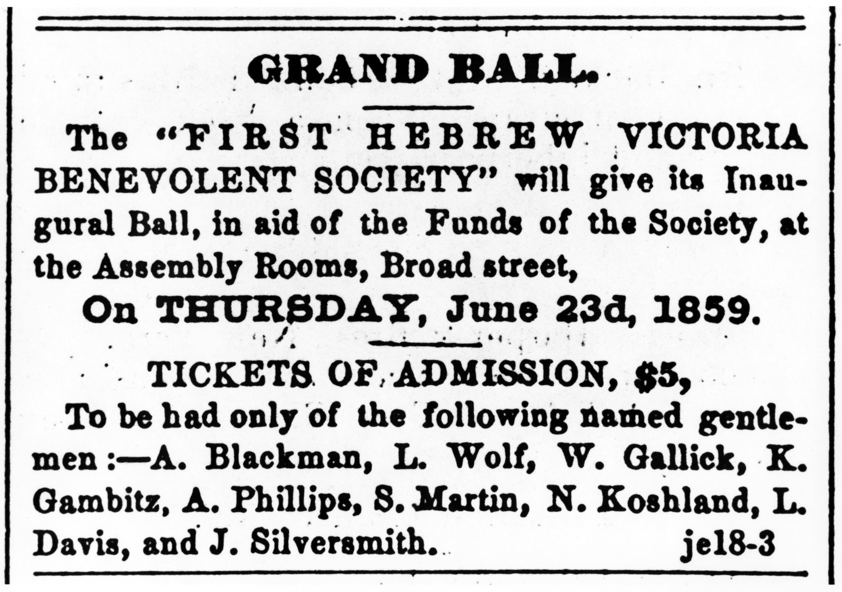Advertisement for the fundraising ball, hosted by the Benevolent Society (L.01437).