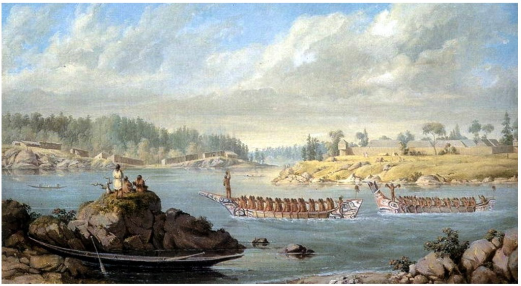 """Return of a War Party."" Artist: Paul Kane (1847). Songhees Village and Fort Victoria. (Royal Ontario Museum ROM2005_5161_1)"