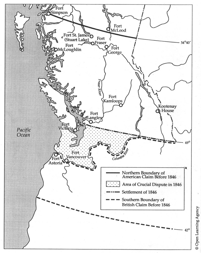Map of fur trade in the Pacific Northwest, from Barman p.xvi