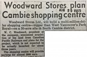 Jewish Independent article announcing construction plans of Oakridge shopping centre, August 1955.